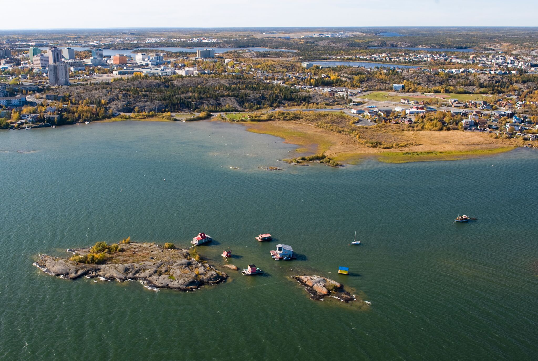 Welcome to the NWT - Yellowknife City Aerial Shot